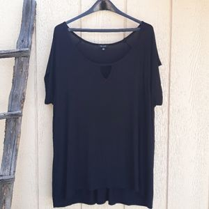 Verve Ami Top Short Sleeve Tunic Cutout Ruched 1X